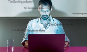Tim Dowling in front of a laptop