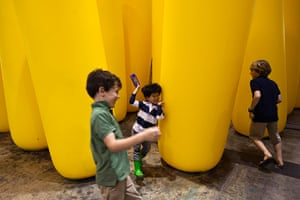 "24 hours in pictures: Children play near an installation titled ""Periphery"""