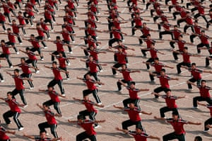 24 hours in pictures: Dengfen, China: Students train at the Tagou Martial Arts School near the Sh