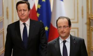 David Cameron and François Hollande at news conference at the Elysée Palace