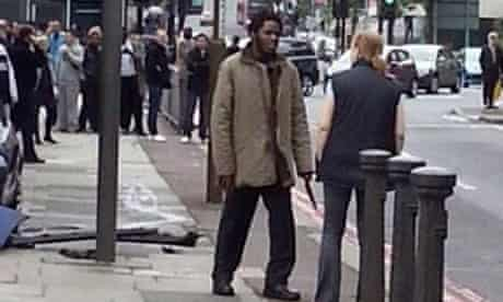 Woolwich attack, suspect on street