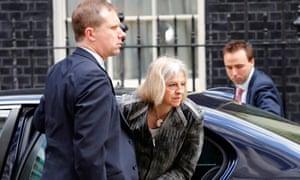 Theresa May arrives at No 10 for a Cobra meeting on 23 may 2013.