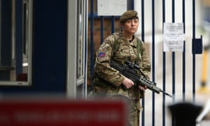 Security is tightened around Woolwich Barracks in south London, after a British soldier was murdered yesterday in a savage knife attack.