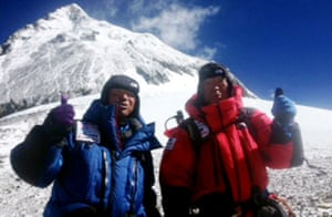 This picture taken yesterday shows 80-year-old Japanese adventurer Yuichiro Miura (R) and his son Gota (L) as they leave the C4 camp to ascent to the summit of Mount Everest in Nepal. Yuichiro Miura has reached the summit of Mount Everest, becoming the oldest person to reach the roof of the world, Nepalese tourism officials said this morning.