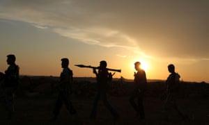 Syrian rebels near Mena airport, Aleppo yesterday evening.