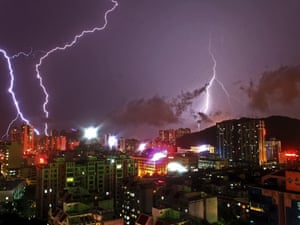 Lightning flashes in the sky in Zhuhai, Guangdong province, China. Heavy rainfall since Saturday has killed two people in the south China province.