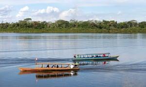 A delightfully serene scene as motorboats cruise through the Yarinaqucha lagoon, near Peru's Amazon city of Pucallpa.