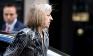 The Home Secretary Theresa May arrives to attend a meeting of the government's emergency response committee, COBRA, in Downing Street this morning.