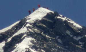 A slightly muzzy image of the team of climbers led by 80-year-old Japanese mountaineer Yuichiro Miura actually standing on the summit of Mount Everest this morning. The photo was taken with a telephoto lens from an altitude of 5,550 metres.