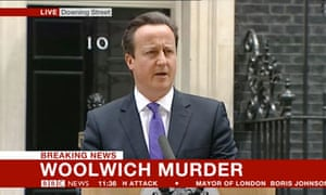 David Cameron gives a press conference about the Woolwich murder