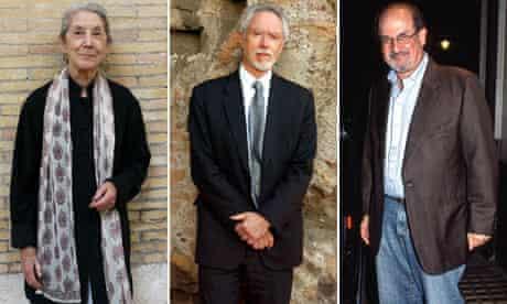 A composite of Nadime Gordimer, J.M.Coetzee, Salman Rushdie