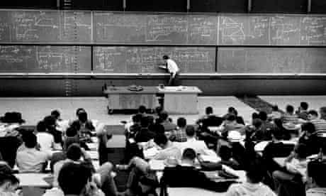 A physics lecture and blackboard