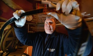 Russell Carroll, projectionist and general manager in the projection room at the Picture House in Campbeltown, Scotland. The Picture House will be celebrating its 100th birthday this weekend. It is the oldest purpose built, continuously operating, fully functioning picture house in Scotland.