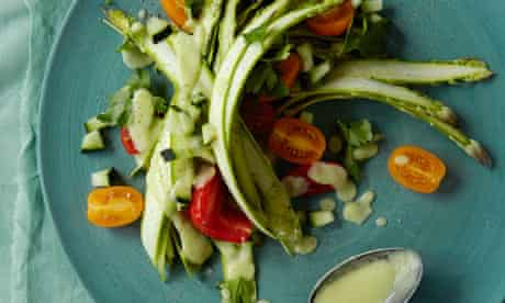Ribboned asparagus salad with avocado dressing