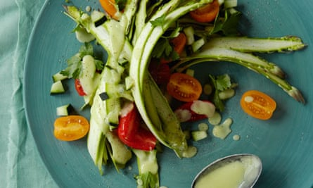 Ribboned asparagus salad with avocado dressing