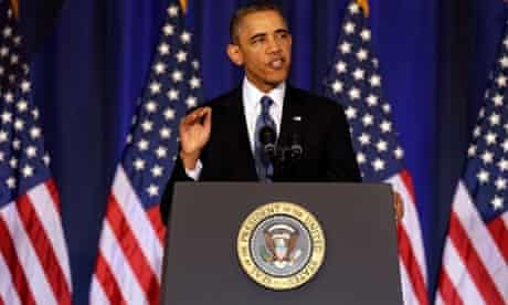 US president Barack Obama speaks at the National Defense University on counter-terrorism.