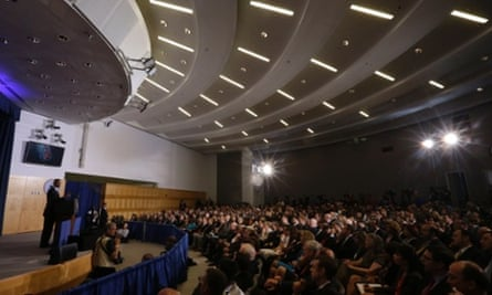 Barack Obama addresses an audience at the National Defense University at Fort McNair in Washington.