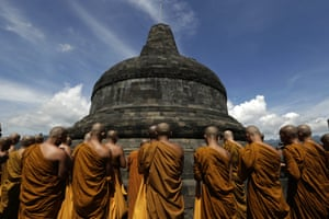 Buddhist monks pray at Borobudur Temple during a visit ahead of Vesak Day in Magelang, Central Java province, Indonesia. Buddhist pilgrims celebrate the Buddist holiday of Vesak at the Borobudur Temple in Magelang, which will be held on 25 May to celebrate the birthday of Buddha.