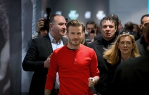 Sport and fashion celebrity David Beckham arrives at H&M store in Paris, France to meet fans. Photograph: Martin Bureau/AFP/Getty Images