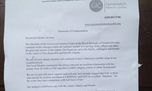 A notice condemning the Woolwich attack pinned to the door of Greenwich Islamic Centre.