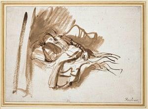 Old master drawings: Rembrandt van Rijn (1606-1669), Saskia in Bed