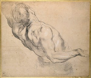 Old master drawings: Peter Paul Rubens (1577-1640), A Nude Man seen partly from behind