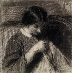 Old master drawings: Ignace-Henri Fantin-Latour (1836-1904), A Woman Sewing