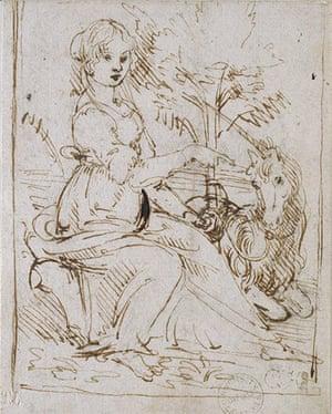 Old master drawings: Leonardo da Vinci (1467-1519), A Maiden with a Unicorn