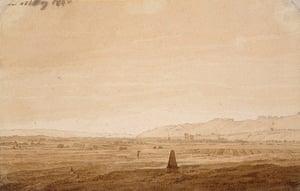 Old master drawings: Caspar David Friedrich (1774-1840), Landscape with an Obelisk