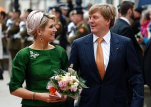 Dutch King Willem-Alexander and Queen Maxima greet the crowd during an official visit to Luxembourg.