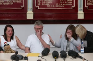Family members of murdered soldier Lee Rigby, his mother and stepfather Lyn and Ian Rigby, Rebecca Rigby and Susan Metcalfe (mother-in-law) mourn as his stepfather reads out a family statement to the media during a press conference, at the Regimental HQ of his unit, the Royal Regiment of Fusiliers in Bury. Photograph: WPA Pool/Getty Images