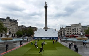 View of the UEFA Champions League fan zone at Trafalgar Square in London. Bayern Munich will play Borussia Dortmund in the UEFA Champions League final at Wembley Stadium on 25 May.