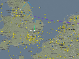 The route of a plane  diverted from Manchester to Stansted.