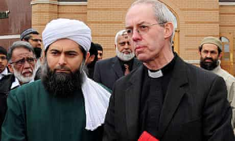 Archbishop of Canterbury Justin Welby visits the Masjid Umar mosque in Leicester