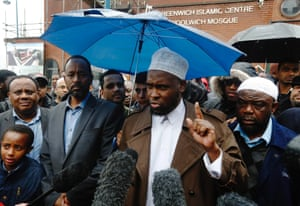 Swaleh Ahmed, the imam of Woolwich Mosque, makes a statement to the media after the murder of Drummer Lee Rigby, of the British Army's 2nd Battalion The Royal Regiment of Fusiliers in Woolwich. Police investigating the murder of the soldier on a busy London street are looking into whether the two suspected killers, British men of Nigerian descent, were part of a wider conspiracy.