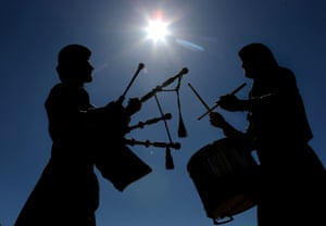 Piper Jonny Simpson and drummer Craig Inglis from Boghall and Bathgate Caledonia pipe band practice in the sun at Meadow Park in Bathgate, ahead of the British Pipe Band championships being held there tomorrow.