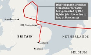 Route of the Pakistan International Airlines plane diverted from Manchester to Stansted airport