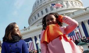 Sasha and Malia Obama at the 2009 inauguration ceremony in Washington
