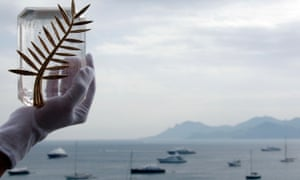 The Palme d'Or in front of the bay of Cannes