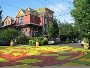Portland street art: Portland painted intersection