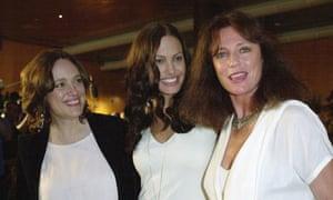 Jolie with her mother, Marcheline Bertrand, left, and actor Jaqueline Bisset