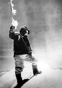 Sherpa Tenzing Norgay stands on the summit of Mount Everest on 29 May 1953
