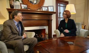 The Prime Minister Julia Gillard talks with Microsoft Chairman Bill Gates at The Lodge.