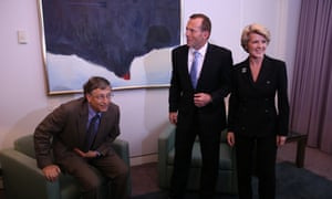 The Chairman of Microsoft Bill Gates meets with The Leader of the Opposition Tony Abbott and Deputy Julie Bishop in his Parliament House office.