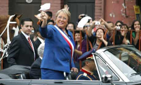 Michelle Bachelet on her departure as president in 2010.