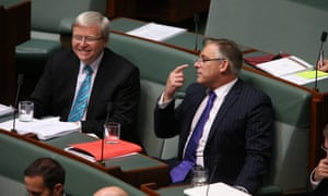The member for Holt Anthony Byrne with the Member for Griffith Kevin Rudd.