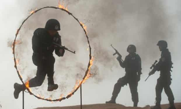 Members of SWAT team receive training in Jingning, China. Not sure how often they'll have to jump through flaming hoops but better to be prepared!