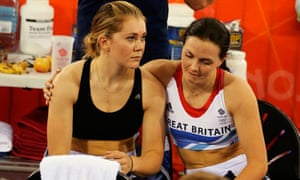 Pendleton and Jess Varnish after being disqualified during the Olympic Games. Photograph: Cathal Mcn