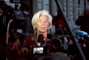France's Christine Lagarde speaks to the press as she leaves the French Republic Justice Court on May 24, 2013 in Paris.