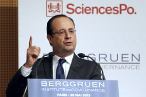 """French President Francois Hollande delivers his speech during the """"Europe: next steps"""" conference at the Institute of Political Studies (IEP) or """"Sciences Po"""", in Paris, on May 28, 2013."""